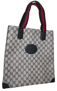 Gucci Smaller Style Interior Pockets Mint Vintage Great For Everyday Tote in leather & large G logo print coated canvas in shades of blue with red/blue striped handles