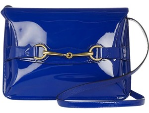 Gucci Bright Bit Horsebit Sapphire Patent Leather Messenger Cross Body Bag