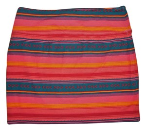 Mossimo Supply Co. Mini Aztec Bohemian Skirt Bright Orange, Pink, Blue