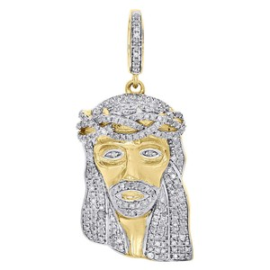 Other 10K Yellow Gold Diamond Mini Jesus Face Piece Pendant 1.30