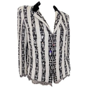 Chanel Lace Lace Trim Crystal black and white Blazer