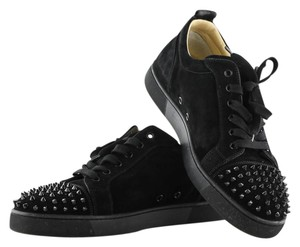 Christian Louboutin Suede Spike Sneakers Black Athletic