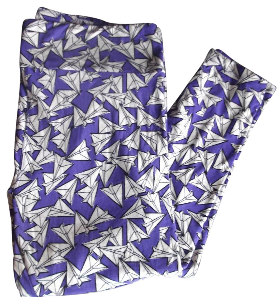 b373ba1f9b4f96 LuLaRoe Tc Purple with white paper airplane pattern Leggings Image 0 ...