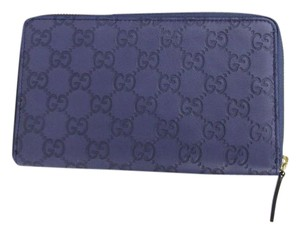 Gucci Guccissima Leather Zip Around Travel Clutch Wallet Blue 321117 4233