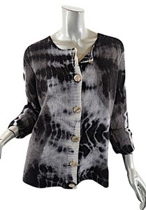 Zoe Couture Zoe 100% Cashmere Tie Dye Gray Taupe Cardigan