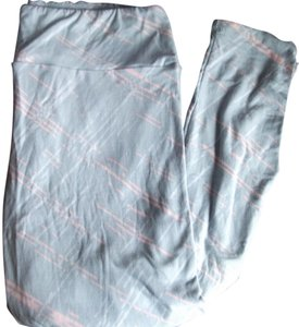 LuLaRoe Tc Light Grey with Pink and white pattern Leggings