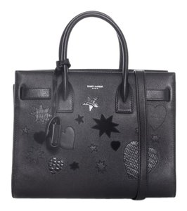Saint Laurent Sac De Jour Baby Nano Patchwork Crossbody Satchel in Black