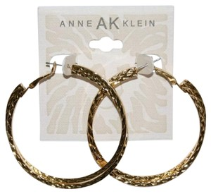 Anne Klein Gold tone double ring hoop earrings