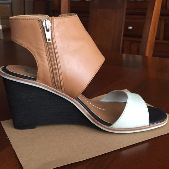 Dolce Vita Leather Tan and White Wedges
