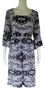 Beige by ECI short dress Black, White Damask And Bell Sleeves Slinky Pull-on on Tradesy