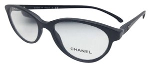 Chanel New CHANEL Eyeglasses 3247-Q 501 52-16 135 Black Frame w/Black Leather
