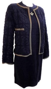 Chanel Chanel cashmere quilted knit navy dress and jacket with Lesage patch