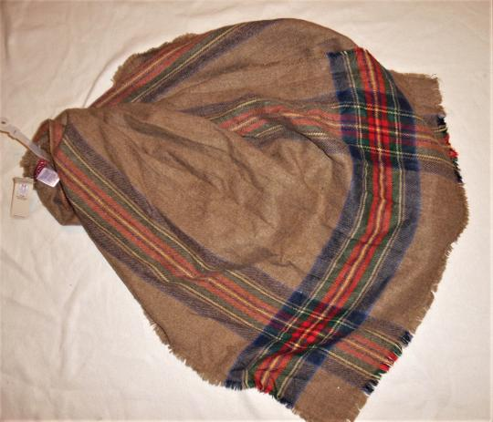 Merona Striped Plaid Soft Raw Hem Boho Hippie Large Sweater Scarf