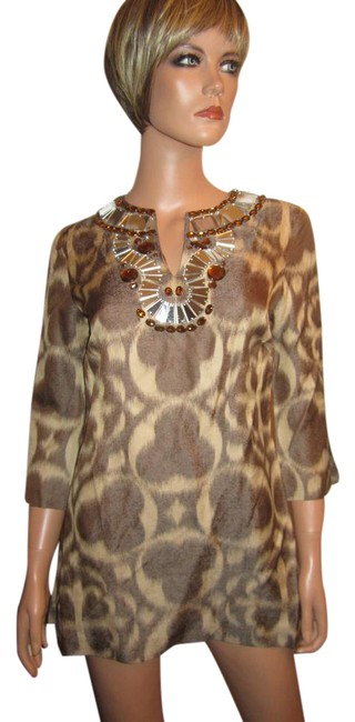 Tory Burch Cocoa Brown and Beige Silk Blend Blouse Jeweled Mirror Beaded Boho Tunic Size 4 (S) Tory Burch Cocoa Brown and Beige Silk Blend Blouse Jeweled Mirror Beaded Boho Tunic Size 4 (S) Image 1