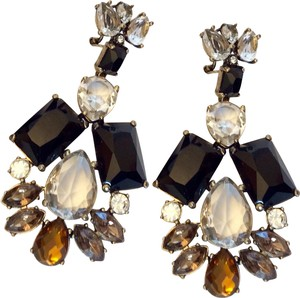 a8c3aa3e0bf J.Crew FRENCH CLIP BLACK AND TOPAZ CRYSTAL CHANDELIER EARRINGS