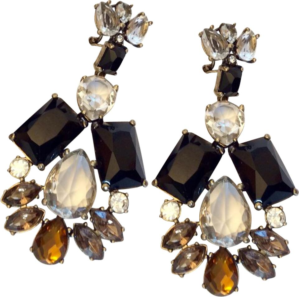 Jew black brown clear french clip and topaz crystal chandelier jew french clip black and topaz crystal chandelier earrings mozeypictures Gallery
