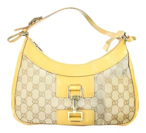 Gucci Jackie Hobo Monogram Gg Logo Satchel in Yellow
