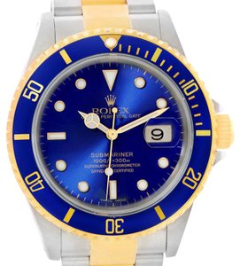 Rolex Rolex Submariner Steel Blue Dial 18K Yellow Gold Mens Watch 16613