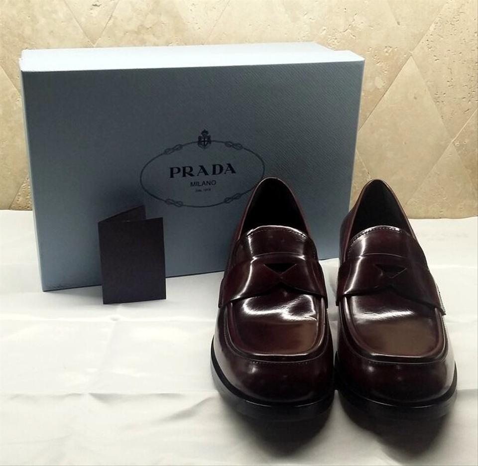 9a9e8591426 Prada Brown Brushed Leather Penny Loafer Flats Size EU 40.5 (Approx. US  10.5) Regular (M