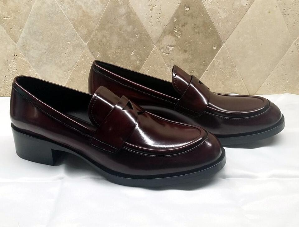 d1b366f6f3c Prada Brown Brushed Leather Penny Loafer Flats Size EU 40.5 (Approx ...