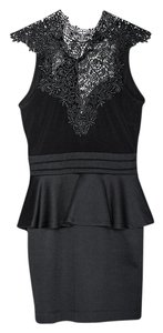 The Vintage Shop Peplum Choker Lace Backless Tie Dress