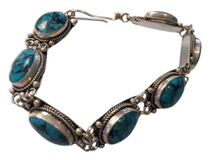 VINTAGE INDIAN BRACELET Sterling SILVER Indian Turquoise Bracelet