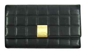 Chanel Chocolate Bar Leather Long Bifold Clutch Wallet