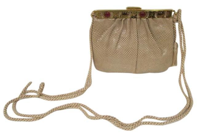 Item - Reptile Stone with Woven Cord Strap Taupe Leather Clutch