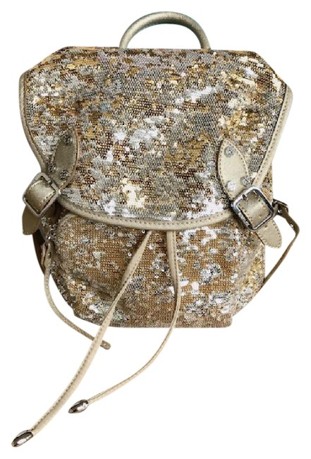 Item - Sequin Gold and Silver Nylon Backpack