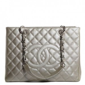Chanel Gst Metallic Grand Shopping Tote Silver Shoulder Bag
