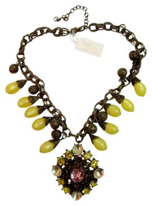 Gerard Yosca Statement Crystal Necklace Pendant Runway Chunky Ren Faire Baroque