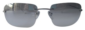 Bvlgari Bvlgari Silver Minimalist Ultralight Rimless Frame Sunglasses Gray Gradient Lenses Bulgari Case Made in Italy