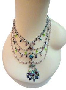Gerard Yosca 5- Tiered Crystal Pendant Necklace Delicate Ren Faire Baroque