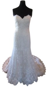 Essense of Australia Ivory/Moscato Lace & Tulle D1758 Feminine Wedding Dress Size 10 (M)
