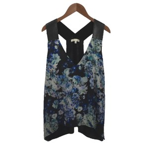 Robbi & Nikki by Robert Rodriguez Spring Summer Faux Leather Sleeveless Top BLACK/ BLUE/ FLORAL