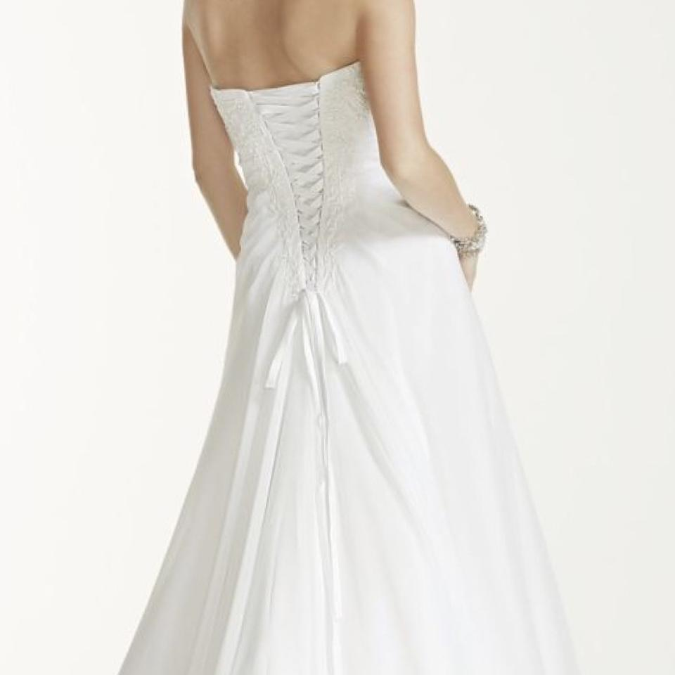White Wedding Dress Under 500: David's Bridal Pure White Strapless Beaded Feminine