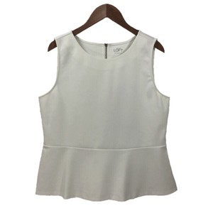 Ann Taylor LOFT Peplum Spring Summer Sleeveless Polyester Top OFF WHITE