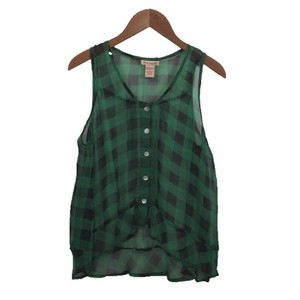 Fire Sleeveless Peplum Spring Summer Top GREEN/ BLACK PLAID
