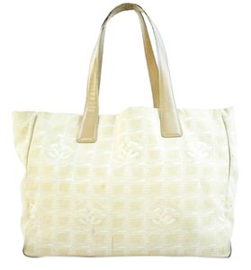 Chanel Quilted Leather Canvas Cc Tote