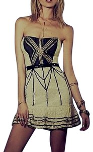 Free People Bohemian Festival Fp Chic Velvet Embroidered Lace Tie Back Cutout Embellished Dress
