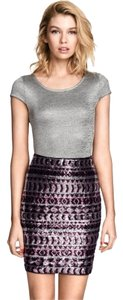 H&M Sequin Aztec Mini Skirt Tribal Pink Black