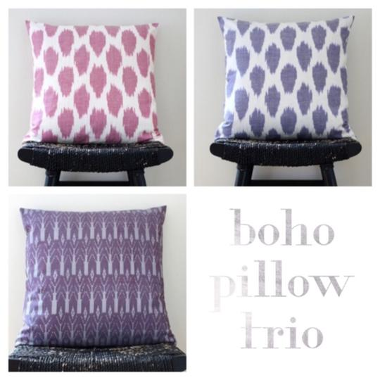 Pink / Purple Handmade Boho Silk Pillow Cover Set Decoration