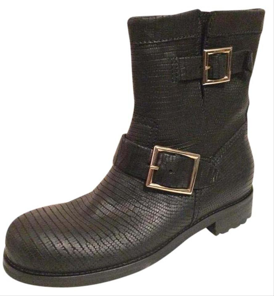 a56c953d231 Jimmy Choo Black Youth Lizard Embossed Leather Buckled Motorcycle Biker  36.5 Boots/Booties