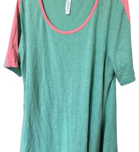 LuLaRoe T Shirt Green and Pink