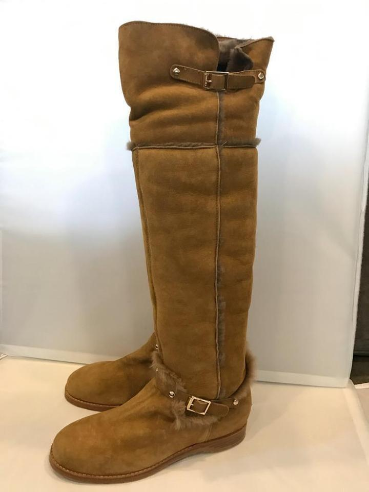 The Shearling Buckled Harlem Tall Flat Choo Over Brown Knee Jimmy Suede Boots Whiskey Booties X8BRwF
