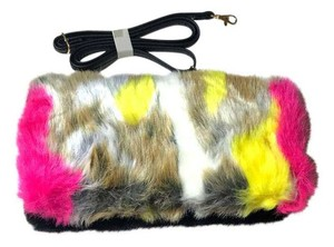Faux Fur Clutch Fux Multicolor black, white, pink, beige, yellow, gray Clutch