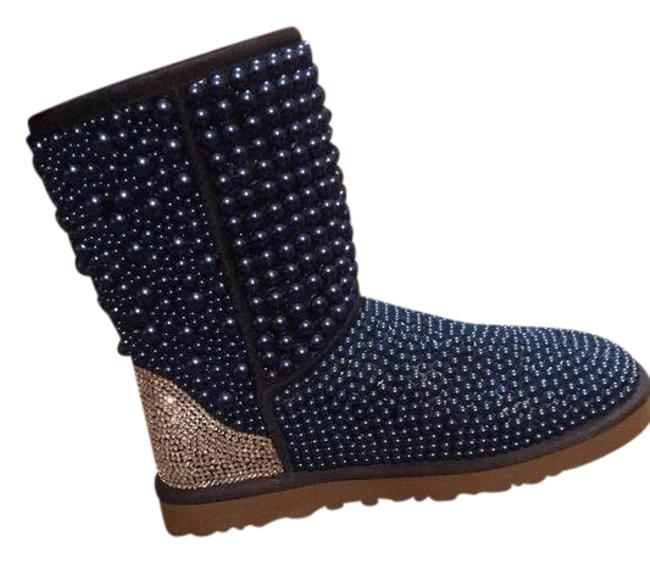 Item - Swarovski Embellished Cropped Bow Uggs Blue Sheepskin Baguette