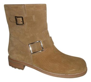 839a094dba01 Jimmy Choo Youth Buckled Biker Moto Suede Light Brown Boots