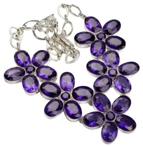Independent Clothing Co. Huge Purple Flower Crystal Fashion Necklace 19
