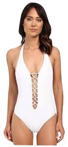 Red Carter Splice and Dice Plunge Lace up Tank Mio One-Piece